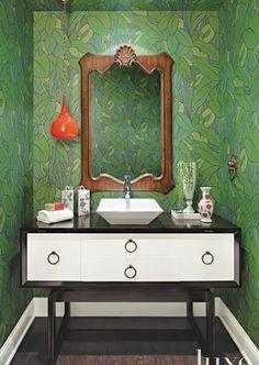 cole and son emerald green leaf wallpaper mid century modern half bath