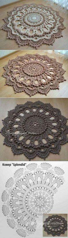 "Stunning carpet according to the ""Splendid"" swipe scheme - Crochet Modnoe Vyazanie Crochet Doily Rug, Crochet Scarf Easy, Crochet Rug Patterns, Crochet Carpet, Crochet Mandala Pattern, Crochet Dollies, Crochet Quilt, Doily Patterns, Crochet Squares"