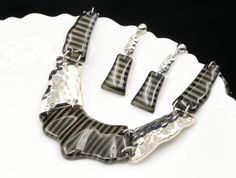 Jewelry black gray strips base silver metal statement necklace drop earrings N57 #accessory9