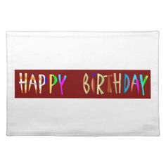HAPPY BIRTHDAY Artistic Script Text Place Mat