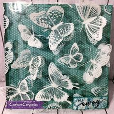 Square card cmade using Sara Signature Flutterby Collection - Luxury printed acetate. Designed by Linda Fitzsimmons #crafterscompanion