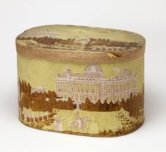 View of the old capitol of Washington, with other buildings; figures in foreground. Printed in olive, pink and white on yellow field. Antique Wallpaper, Us Capitol, Wall Boxes, Capitol Building, Antique Boxes, Landscape Wallpaper, Painted Boxes, Vintage Box, Design Museum