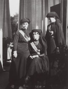 "Maria, Olga, & Tatiana at the funeral of Grand Duke Konstantin Konstantinovich (""KR""), June 1915 : This was the last state funeral held in Imperial Russia before the Revolution. Anastasia and Alexei were deemed too young to attend and stayed at home with their mother."