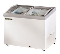 "TRUE Chest Freezer, Horizontal Freezer, -10° holding temp., tempered, hard coated, ""Low-E glass, (2) slide lids, standard w/locks, white vinyl exterior w/gray trim, white aluminum interior w/300 stainless steel floor, 2-1/2"" stem castors, 1/4 hp, cUL, NSF, MADE IN USA @$1,416.02"