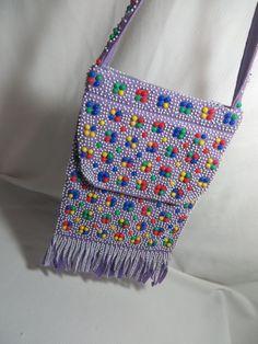 Vintage 60s MOD Candy Plastic Beads Retro BOHO Purple Fringe Shoulder Purse Bag #Handmade #ShoulderBag