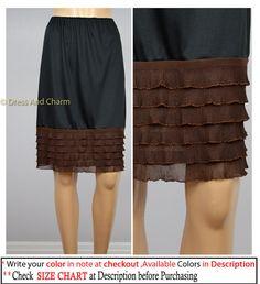 Brown Ruffle Slip extender underskirt skirt by DressandCharm