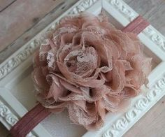 Dusty Rose Lace Flower Headband Shabby Chic Baby Girls Hair Accessories -B1. $7.99, via Etsy.