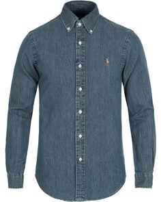 Polo Ralph Lauren Slim Fit Shirt Denim Dark Wash i gruppen Skjortor hos Care of Carl (10494411r)