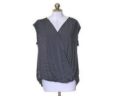 Worthington Black & White Striped Stretch Knit Surplice Blouse Size 1x 2X 3X NWT #Worthington #KnitTop #Casual