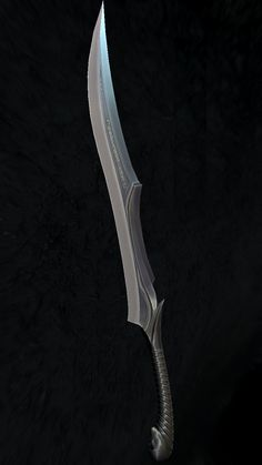 Forged at the pinnacle of the their craft.  Anguriel and its twin Anglachel have few equals.  They were forged from rarest Black Mithril and bears enchantments of power and ruin.  Those who have crossed swords with either of these blades and lived are rarer still. Ninja Weapons, Anime Weapons, Weapons Guns, Fantasy Sword, Fantasy Armor, Fantasy Weapons, Weapon Concept Art, Armor Concept, Swords And Daggers