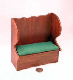 Antique colonial pine settle, upholstery bench, emerald green silk, storage bin. 1 to 12 inch scale dollhouse miniature.