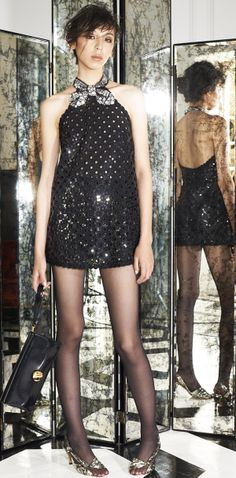 eyelet sequin embellished #glitzy party mini black dress with around the neck #crystals embellished bow details Marc Jacobs Resort 2015 #glitters
