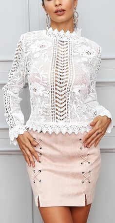 0f60fb6ff91d5 Sexy White or Black Long Sleeve lace Top. White Lace Tank Top ...