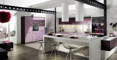 Best 10 Dazzling Purple Kitchen Design Ideas : Beautiful White Brick Walls Kitchen Design with Purple Kitchen Cabinet and White Dining Table Purple Kitchen Cabinets, Kitchen Cabinet Design, Interior Design Kitchen, Gloss Kitchen, Purple Kitchen Designs, Brick Wall Kitchen, Nice Kitchen, Stylish Kitchen, Red Kitchen