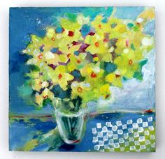 """Abstract floral painting, loose flowers, """"Spring Daffodils"""" 12x12"""" original painting by Kerri Blackman"""