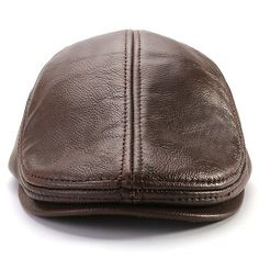 7514c829c442c Men Classic Genuine Cowhide With Ear Flaps Beret Hats Casual With  Ventilation Holes Flat Caps Flat
