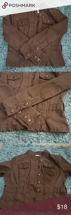 BROWN DENIM RAW EDGE JACKET SIZE M This jacket is like new... Im a black and denim person so never really wore much brown..  If you wear size 6 in shoes..check out the brown boots..they look great with this jacket.. bundle and save ?? No Boundaries Jackets & Coats Jean Jackets