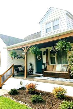 Already so bored with the activities of caring for the yard and want to change the design of the front porch so that maintenance is not too troublesome? Front Porch Design, Modern Farmhouse Exterior, Backyard, Patio, Dream House Exterior, House Goals, My Dream Home, Exterior Design, Future House