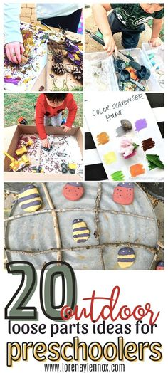 20 Loose Parts Outdoor Activities for Toddlers #Loosepartsplay #outdooractivitiesfortoddlers #springactivitiesfortoddlers #outdooractivitiesforpreschoolers #toddleractivitiesathome #summertoddleractivities #funtoddleractivities #educationaltoddleractivities Toddler Fine Motor Activities, Educational Activities For Preschoolers, Outdoor Activities For Toddlers, Autumn Activities For Kids, Fun Crafts For Kids, Infant Activities, Preschool Activities, Creative Arts And Crafts, Creative Play