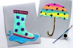 Rainy Day Parasol Craft and Rain Boot Craft dla dzieci, aby uczynić