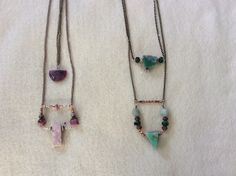 Pink opal and ruby. Crysoprase and aquamarine.by Barbara Disbrow