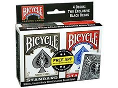 Bicycle Standard Index Pack , Black/Red) - New Sealed--Bicycle Rider Back Poker 808 Rack Deck. America's Favorite Playing Card with the famous Rider Back card back. Made in USA. Size: X inches. Buy Bicycle, Bicycle Cards, Bicycle Playing Cards, Best Hobbies For Men, Fun Hobbies, Casino Party Foods, Casino Theme Parties, Black Deck, App Play