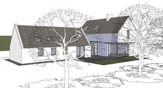 The extension and renovation of the Clients' family cottage in rural Cork. Rural House, Cottage House Plans, Bungalow Renovation, Bungalow Ideas, Cottage Extension, Farmhouse Architecture, Irish Cottage, Pole Barn Homes, Dream House Exterior