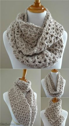 Crochet Pavement Infinity Scarf - 10 Free Crochet Patterns Featuring Neutral Hues | 101 Crochet