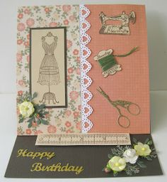 I have made this easel card for a friend who loves to sew, it has been made with stamped images, paper flowers and die cuts. Handmade Birthday Cards, Greeting Cards Handmade, Patchwork Cards, Fabric Cards, Sewing Cards, Craftwork Cards, Step Cards, Easel Cards, Marianne Design