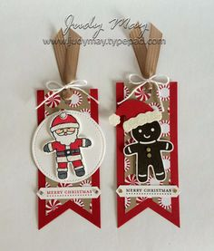 Stampin' Up! - Christmas Tags with Candy Cane Lane Suite - Judy May Just Judy Designs Christmas Paper Crafts, Stampin Up Christmas, Christmas Gift Tags, Xmas Cards, Christmas Projects, Gift Cards, Christmas Candy, Diy Christmas, Christmas Cookie Cutters