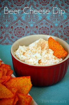Beer Cheese Dip  Beer Cheese Dip via TidyMom       (printable recipe)     2 – 8oz pkgs Cream Cheese, softened     1/3 cup beer*     1 envelope Ranch Dressing Mix     2 cups Shredded Cheddar Cheese     Beat the first three ingredients until well blended.     Stir in cheddar cheese by hand.     *if dip is too thick, add a little beer to thin it down