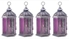 10 WEDDING PURPLE HANGING MOROCCAN CANDLE HOLDER LANTERN CENTERPIECES NEW