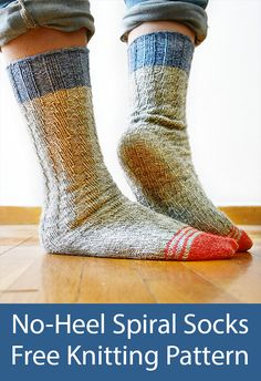 Free Knitting Pattern for Easy No-Heel Spiral Socks - These ingenious tube socks fit any length of foot perfectly - without the need of any heel construction, thanks to the stretchy spiral stitch. The opened up helix or spiral creates natural elasticity that stretches to hug the shape of the foot perfectly. Rated easy by Ravelrers. Designed by La Maison Rililie. #Fingering weight yarn