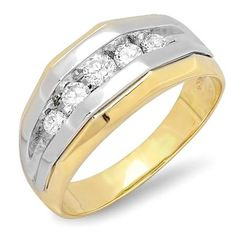 Share and get $20 off your order of $100 or more. 1.25 Carat (ctw) 14k Two Tone Gold Brilliant Round Diamond Channel Set Men's 5 Stone Wedding Anniversary Ring 1 1/4 CT - Dazzling Rock #https://www.pinterest.com/dazzlingrock/