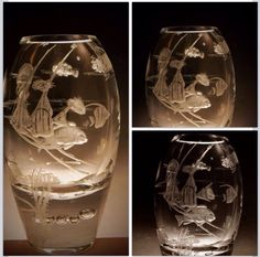 Coral Fish Delight! Handengraved on the outside and inner surface of the vase to create a 3D effect.