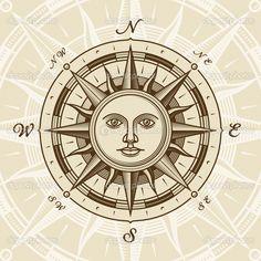 sun art   Vintage sun compass rose   Stock Vector © Oleg Iatsun #6123109