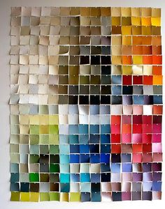 Creative DIY Wall Art Recommended Ideas to Do: Paint Chip Wall Art ~ Peerflix Paint Chip Wall, Paint Chips, Things Organized Neatly, Do It Yourself Inspiration, Chip Art, Paint Swatches, Color Swatches, Fabric Swatches, Paint Swatch Art