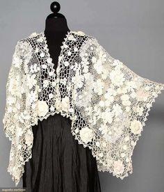 Irish Crochet Shaped Shawl, C. 1910, Augusta Auctions, April 9, 2014 - NYC, Lot 229