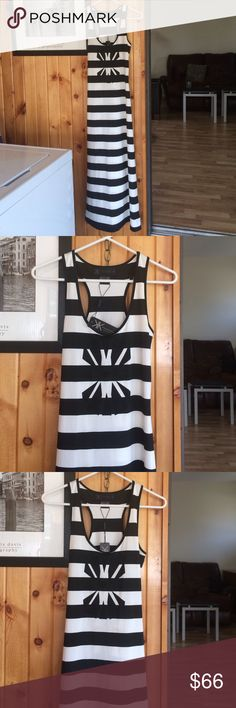 Kardashian kollection stripe maxi dress Kardashian kollection stripe maxi dress. Brand new with tags never worn.  Hemmed a little bit shorter.  Size xs Dresses Maxi