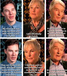 Benedict Cumberbatch's parents play Sherlock Holmes' parents in two episodes: Benedict Cumberbatch, Wanda Ventham, and Timothy Carlton. Sherlock Holmes, Sherlock Fandom, Sherlock Cast, Sherlock Bored, Sherlock Series, Sherlock John, Moriarty, Johnlock, Tom Hiddleston
