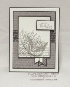 hand crafted card from Stamp & Create With Sabrina ... By the Tide ... shades of gray ... Stampn' Up!