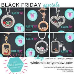 Starting 1am shop Origami Owl's Black Friday deals! Up to 60% off and FREE shipping on $50+ orders!
