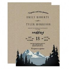 Shop Rustic Mountain Woodland Forest Wedding Invitation created by riverme. Personalize it with photos & text or purchase as is! Wedding Invitation Trends, Mountain Wedding Invitations, Destination Wedding Invitations, Save The Date Invitations, Rustic Invitations, Wedding Invitation Wording, Printable Wedding Invitations, Destination Weddings, Dinner Invitations