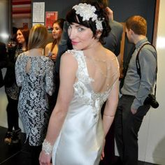 Close up on the back of my dress. A bespoke 1920s/30s wedding dress for a Scottish winter wedding. Accessories all handmade by myself (inc the necklace at the back of my dress)