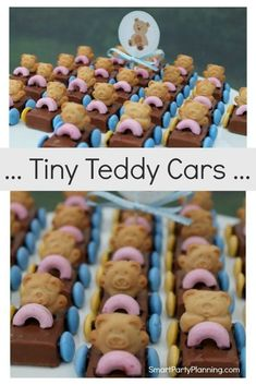 Learn how to easily create these adorable tiny teddy cars. They are the ultimate party treat which kids love. Make with either Mars bars or Milky Ways, these tiny teddy cars are always an absolute hit at kids parties. They would also be perfect for a racing car party or even on the top of a birthday cake. Birthday Party Celebration, Birthday Cake, Tiny Teddies, Mars Bar, Snickers Bar, Kids Party Themes, Party Treats, Inspiration For Kids, Childrens Party