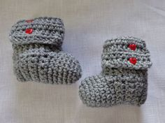 Handmade Crochet Baby Boots Booties 0-3 months Gray & Red Heart Buttons #Handmade #Booties