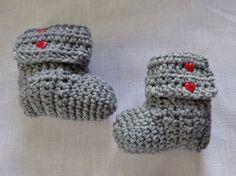 Handmade Crochet Baby Boots Booties 0-3 months Gray & Red Heart Buttons #Handmade #Booties
