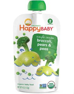 Happybaby Stage 2 Broccoli, Pears & Peas Squeeze Pouch 4 oz