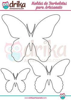 140 Moldes de Borboletas para Imprimir em Vários Tamanhos! Decopage, Butterfly Template, Cardboard Crafts, Diy, Crochet, Butterflies, Flowers, Home Decor, Paper Butterflies