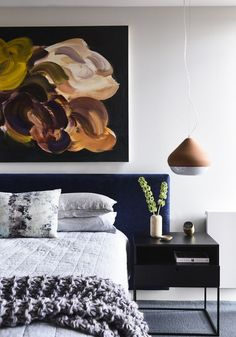 blissful, calm and contemporary everything you need your bedroom to be. Love the artwork above the bed and the navy headboard. Design by Doherty Design Studio Australian Interior Design, Interior Design Awards, Interior Design Studio, Design Interiors, Modern Bedroom Furniture, Home Decor Bedroom, Furniture Design, Bedroom Artwork, European Furniture